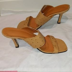 Brian Atwood Tan Ostrich Open-toed Heels